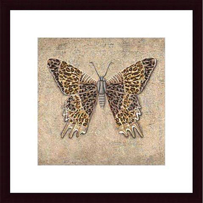 Brice 'Leopard Butterfly' Wood Framed Art Print