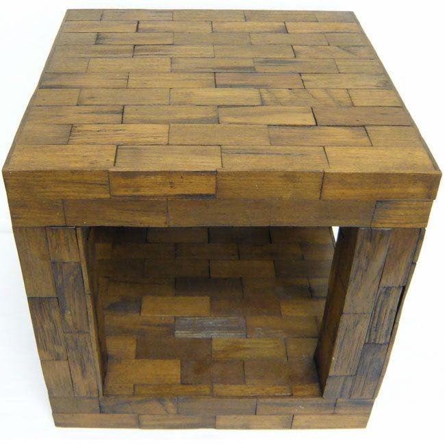 Reclaimed Teak Cube Accent Table (Thailand)