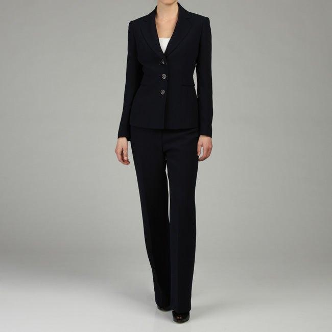 Jones New York Women S Navy Crepe Pant Suit Overstock