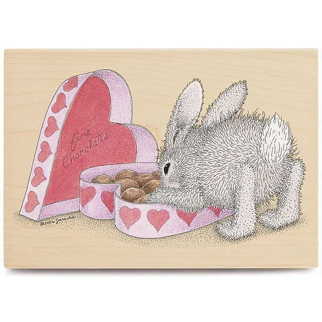 House Mouse 'Happy Valentine's Day' Wood-mounted Rubber Stamp