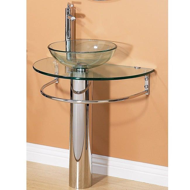 Kiliv Pedestal Glass Sink Set with Tower Bar