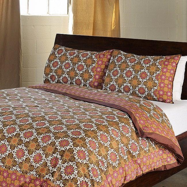 Antique Pattern Cotton Queen-size 3-piece Duvet Cover Set (India)