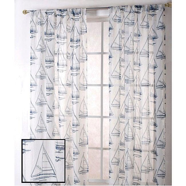 Sheer Navy Sailboat Print 84-inch Curtain Panel Pair