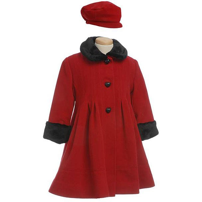 Rothschild Girl S Wool Pleated Coat With Faux Fur Trim Overstock Shopping Great Deals On