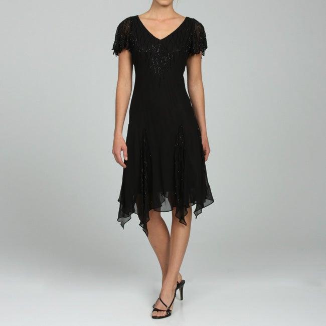 JLaxmi Women's Beaded Handkerchief-hem Dress