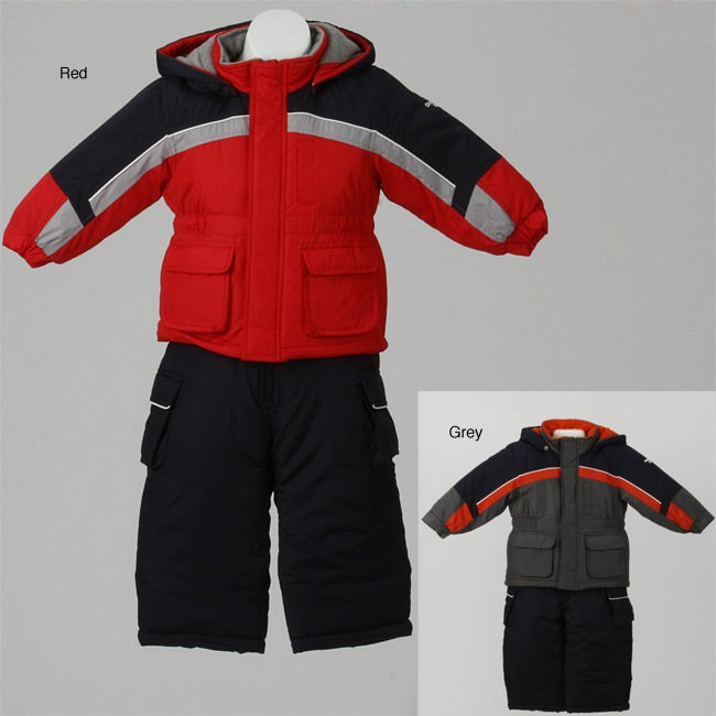 I have very pleased with the purchase of the OshKosh Toddler Boy's Colorblocked Snowsuit Set. It very warm and stylish. It's could had been a little bit more big in size but I .