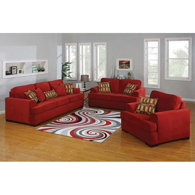 Brooke 2 Piece Red Microfiber Sofa And Loveseat Set