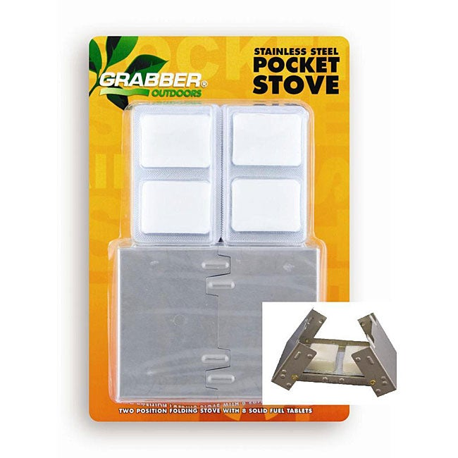 Stainless Steel Adjustable Pocket Stove with 8 Fuel Tabs