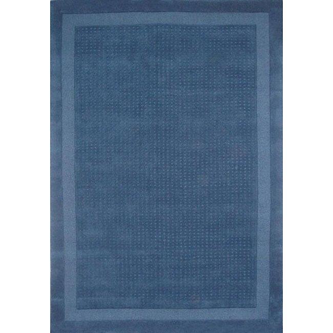 Hand-tufted Blue Dot Wool Rug (8' x 11')