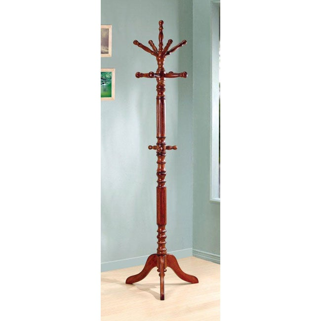 Traditional Spinning-top Tobacco Wood Coat Rack