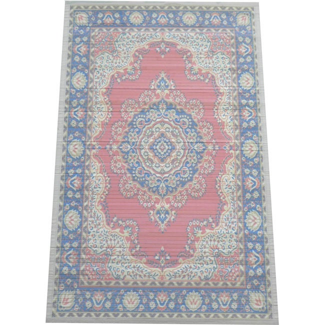 Persian Bamboo Handcrafted Salmon/Navy Rug (5' x 8')