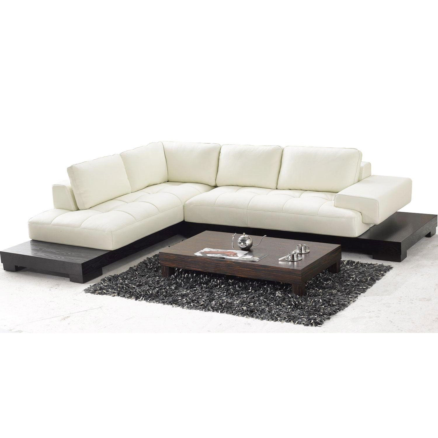 Tosh furniture beige leather sectional sofa overstock for Small sectional sofa overstock
