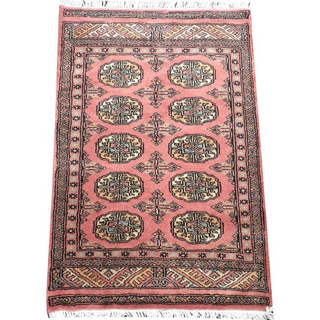 Pakistani Hand-knotted Peach/ Black Bokhara Wool Rug (2' x 3')