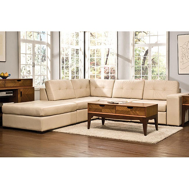Kami 6 piece modular cream leather sectional overstock for Leather sectional sofa overstock