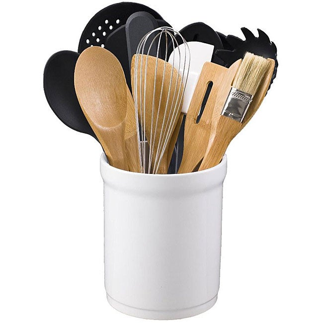 Kitchen Tool 16-piece Set in Ceramic Tub