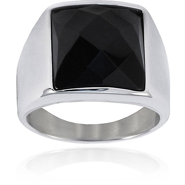 West Coast Jewelry Stainless Steel Faceted Onyx Ring
