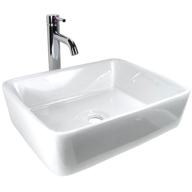Rectangular Porcelain Bathroom Vessel Sink and Chrome Faucet Combo ...