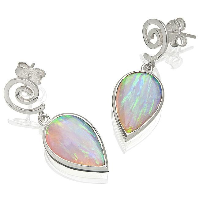 Sterling Silver Created White Opal Spiral Earrings (USA)