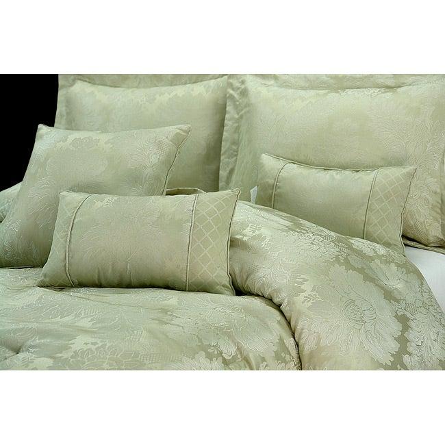 Verona Sage 7 Piece King Size Comforter Set Overstock