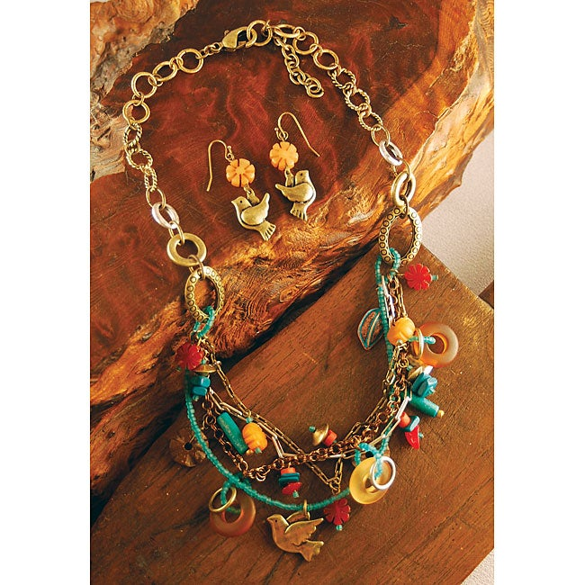 Brass Multi Charm Necklace and Earring Set (China)