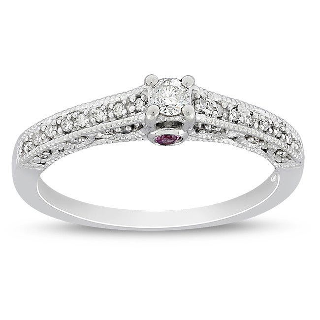 Miadora 10k White Gold 1/6ct TDW Diamond and Pink Sapphire Ring (G-H, I2-I3)