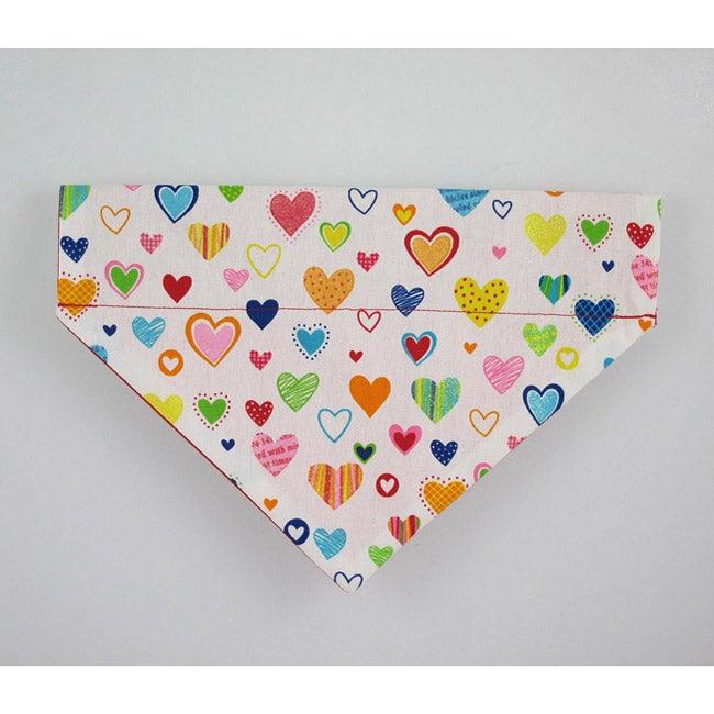 Ruff Stuff USA Multicolor Hearts Dog Collar Bandana