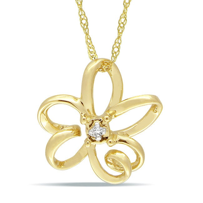 Miadora 10k Yellow Gold Diamond Accent Flower Necklace