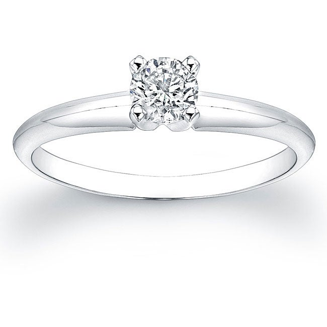 14k White Gold 1/3ct TDW Certified Diamond Solitaire Engagement Ring (H-I, SI1-SI2)