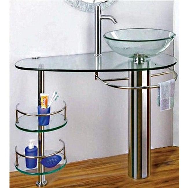 Chrome 36 inch bathroom vanity vessel sink and faucet - Bathroom vessel sink vanity combo ...