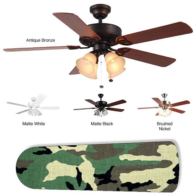 New Image Concepts 4-light Ceiling Fan with Camouflage Blades