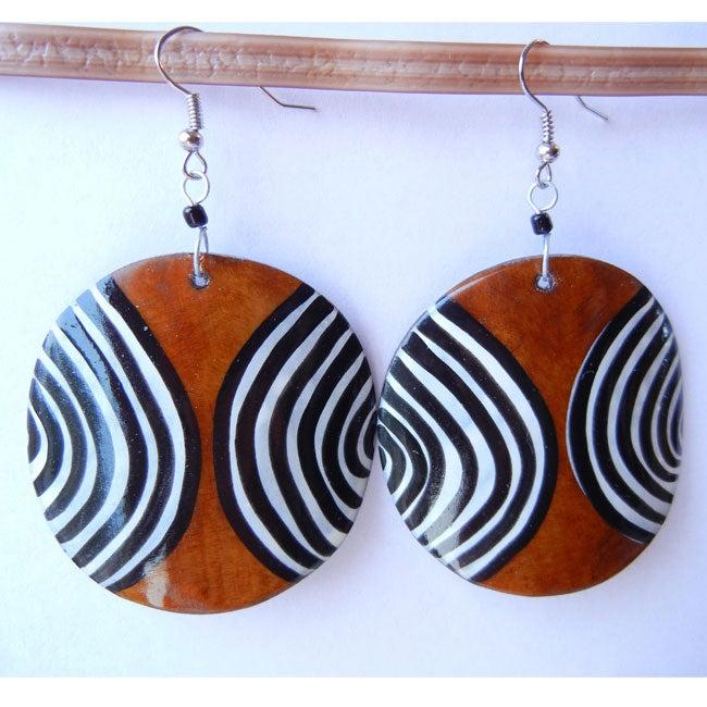 Cow Bone Brown and Striped Circle Earrings (Kenya)