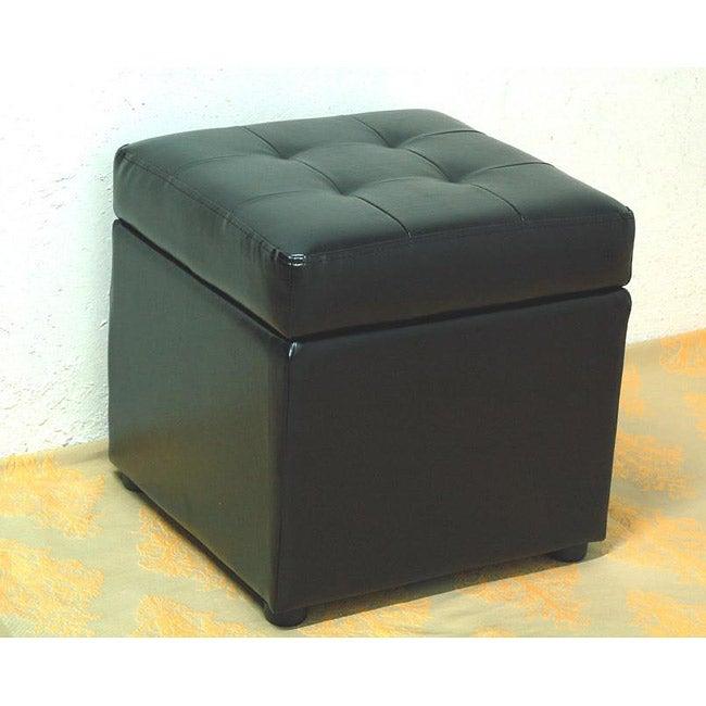 Bi-cast Leather Black Storage Ottoman