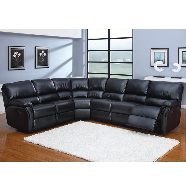 Autumn 3 piece black leather sectional sofa overstock for Small sectional sofa overstock