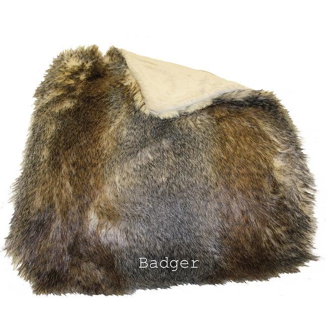 Badger Faux Fur Woven Throw