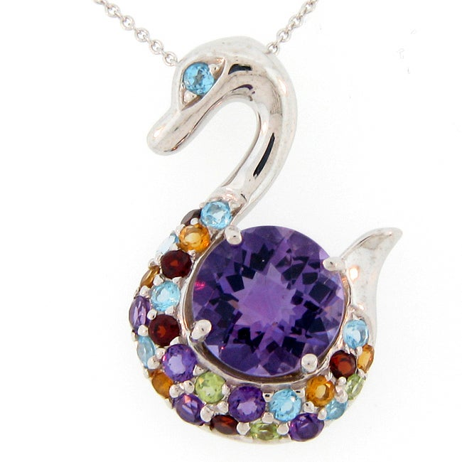 meredith leigh sterling silver multi color gemstone swan
