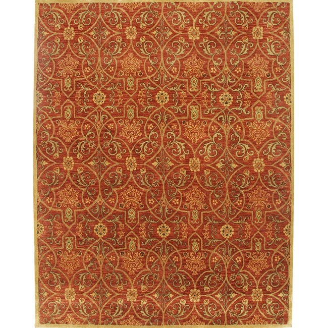 Alliyah Handmade Burgundy New Zealand Blend Wool Rug (10' x 14')