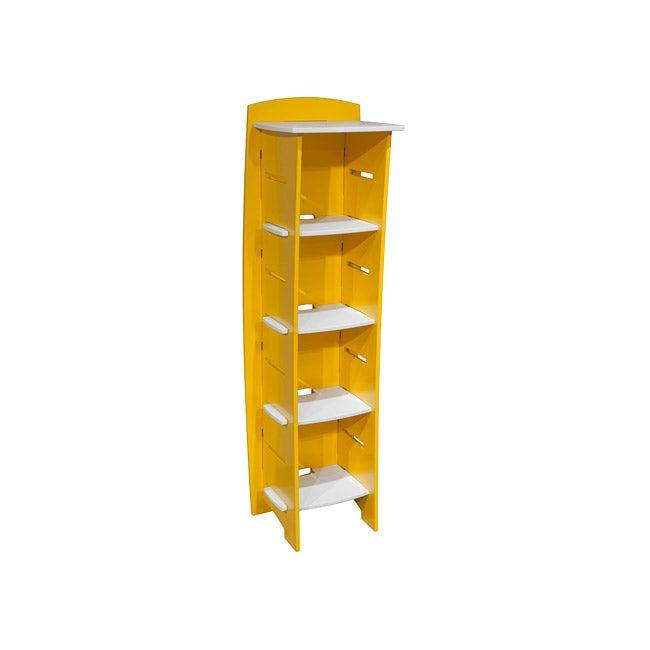 Legare Yellow and White Five-shelf Bookcase