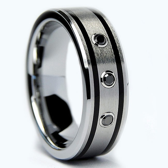 Men's Tungsten Carbide Black Diamond and Resin Band (7 mm)