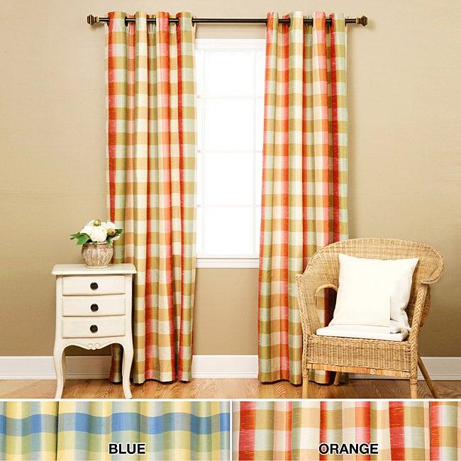 Faux Silk Check 95-inch Curtain Panel Pair
