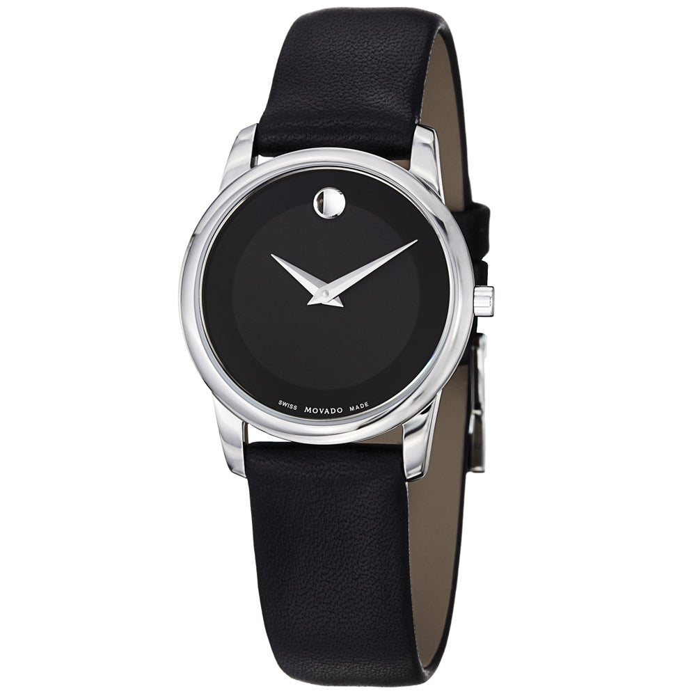 Movado Women's Stainless Steel Leather Strap Watch
