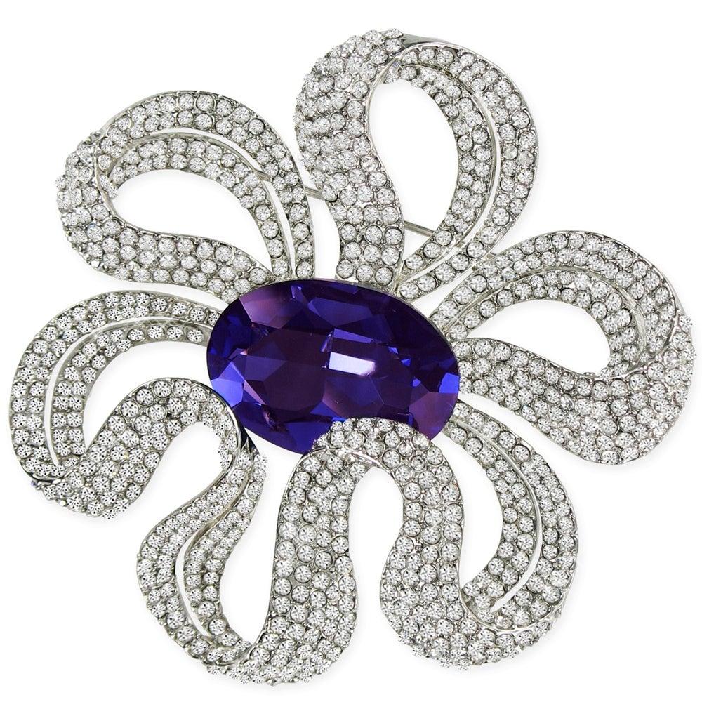 Elegant Capri Blue Crystal Design Brooch