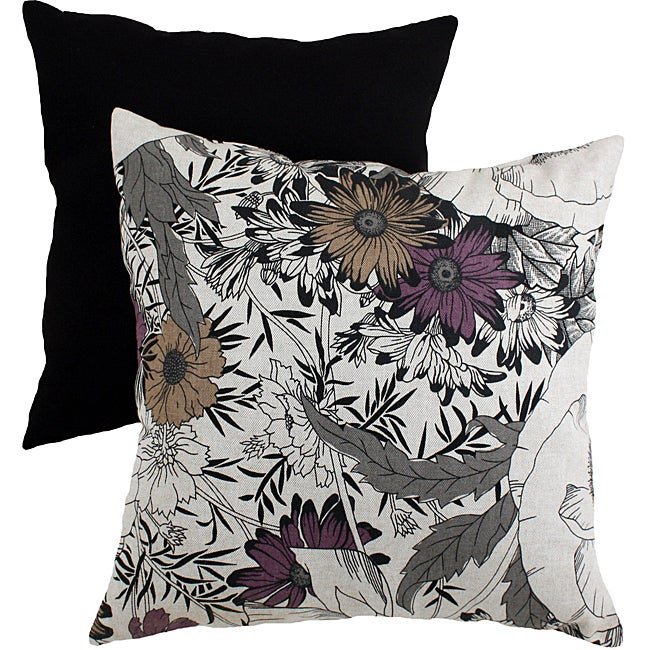 Pillow Perfect Black/ Grey Floral Sketches Throw Pillow