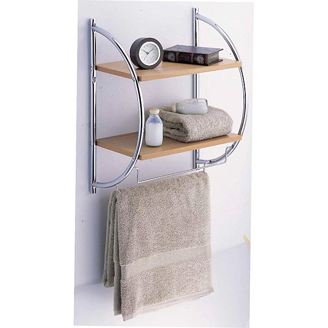 Manhattan 2 Tier Wood Mounting Shelf with Towel Bars