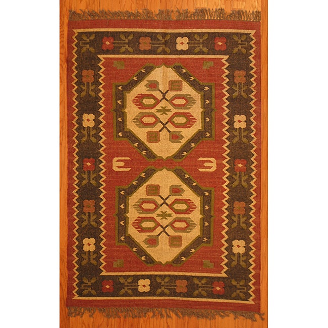 Indo Tribal Kilim Wool Rug (4' x 6')