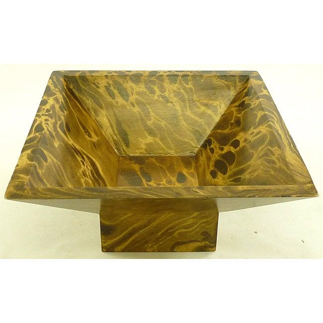 Mango Wood Single-leg Square Bowl (Thailand)