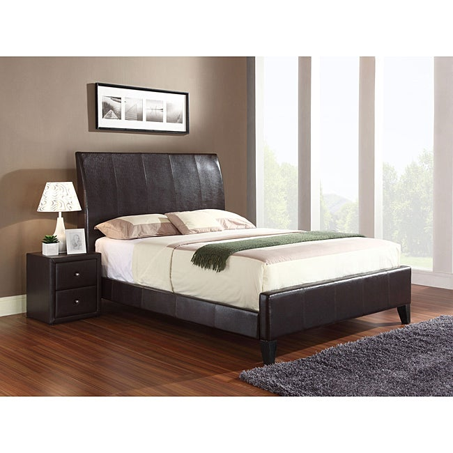 Flare California King Size Brown Bonded Leather Sleigh Bed