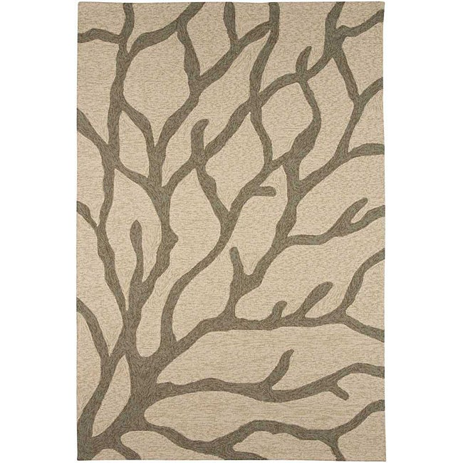 Hand-hooked Abstract Gray Indoor/ Outdoor Area Rug (5' x 7'6)