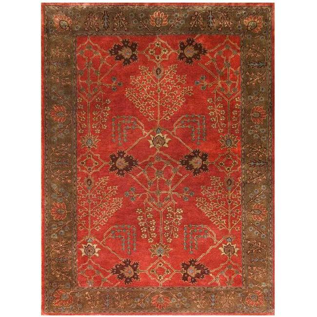 Hand-tufted Orange/ Brown Wool Rug (8' x 11')