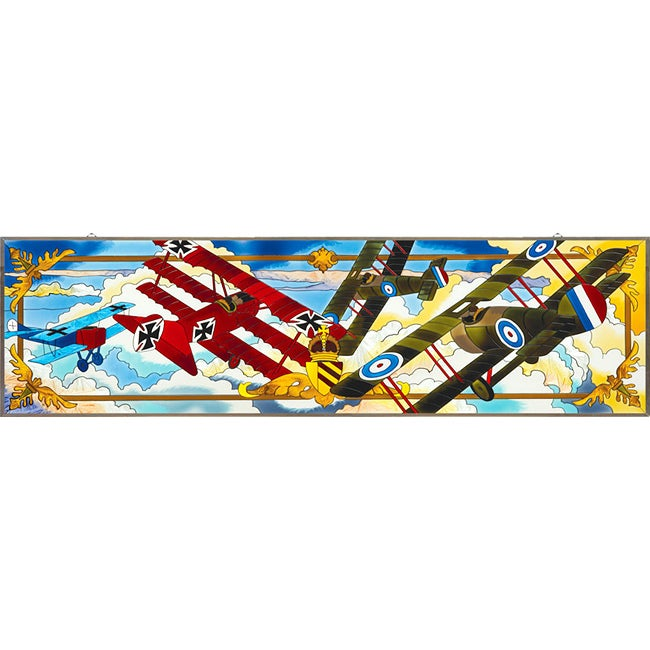 Joan Baker Hand Painted WW I Biplanes Art Panel
