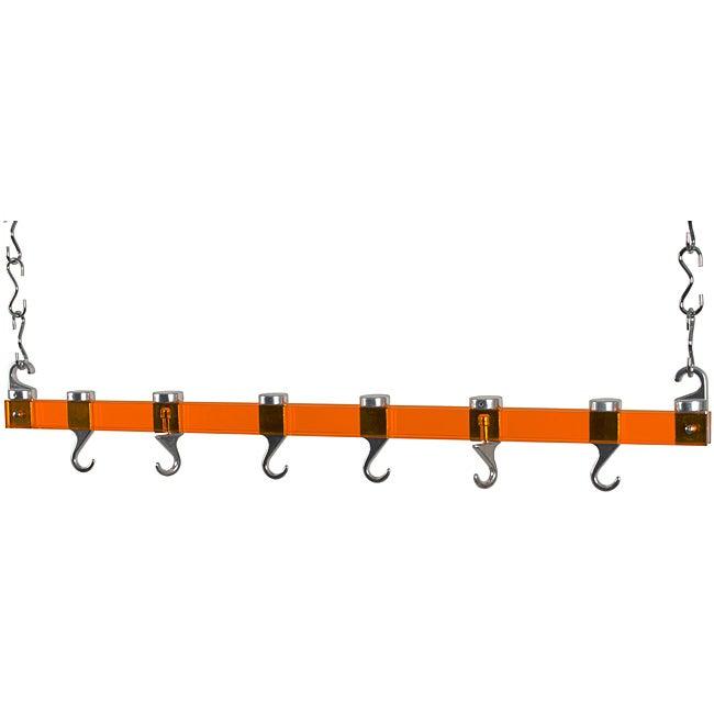 Concept Housewares Dual Track Orange Acrylic Ceiling Pot Rack